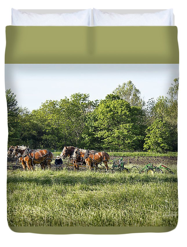 Amish Duvet Cover featuring the photograph Amish Man Plowing by David Arment