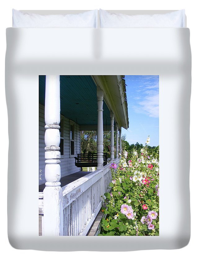 Amish Porch Duvet Cover featuring the photograph Amish Porch by Ed Smith