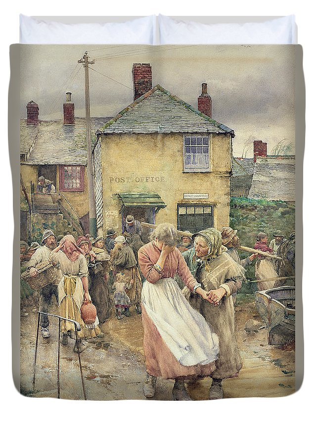 Among The Missing Duvet Cover featuring the painting Among The Missing by Walter Langley
