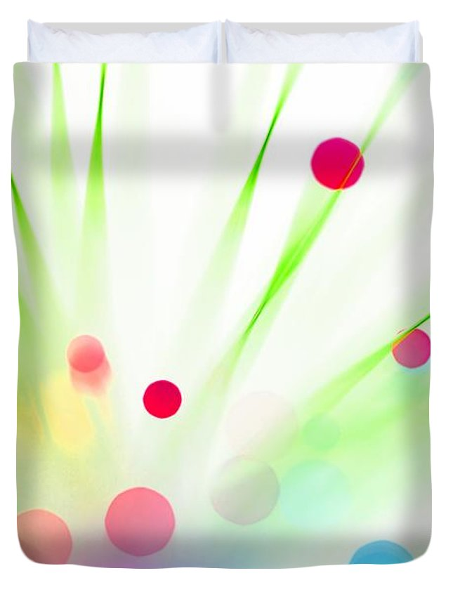 Abstract Duvet Cover featuring the photograph Among The Wildflowers by Dazzle Zazz