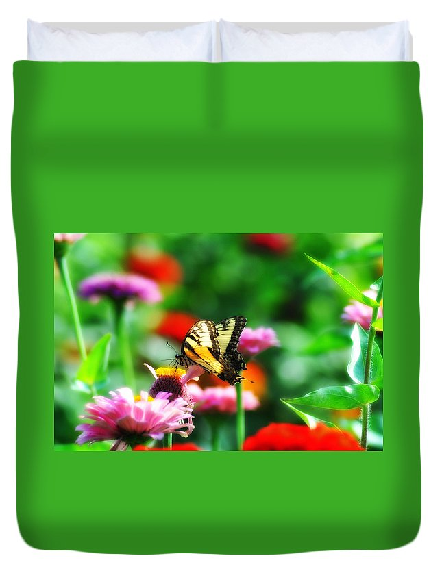 Butterfly Duvet Cover featuring the photograph Amongst The Flowers by Bill Cannon