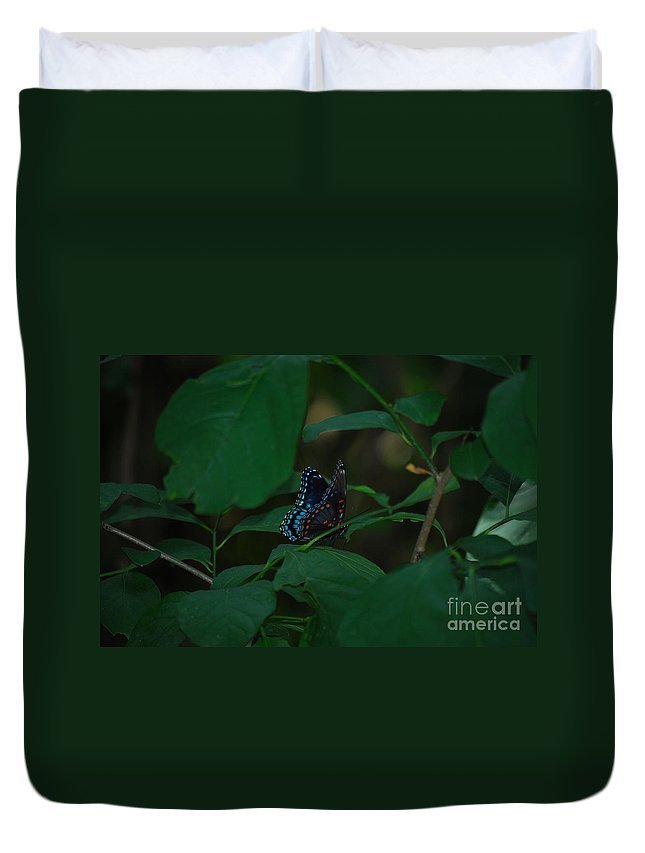 Butterfly Duvet Cover featuring the photograph Amongst The Green by Lori Tambakis