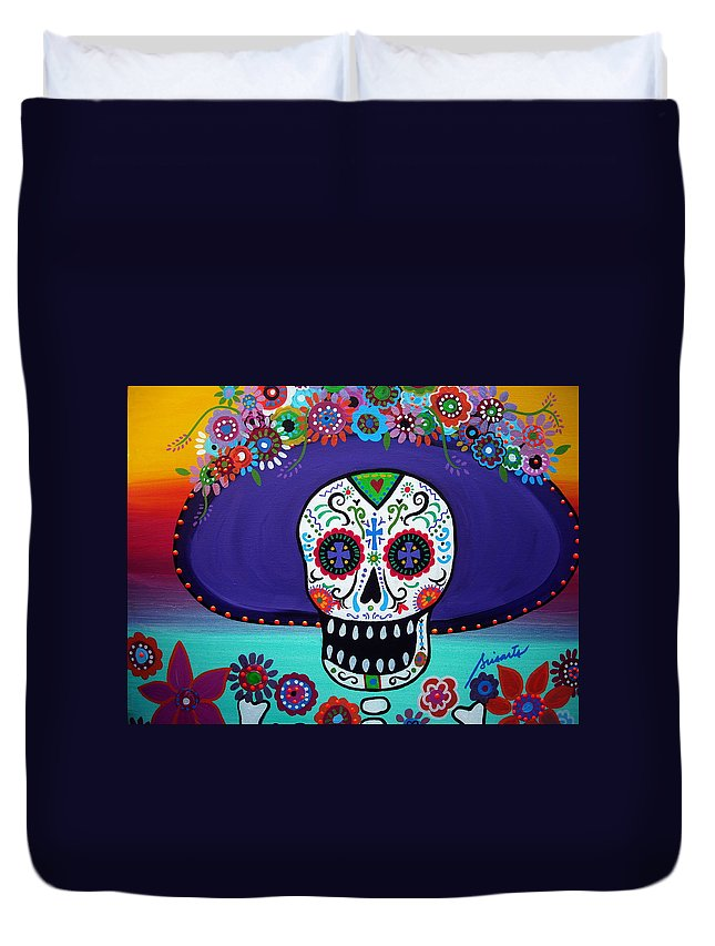 Day Of The Dead Duvet Cover featuring the painting Amor Catrina by Pristine Cartera Turkus