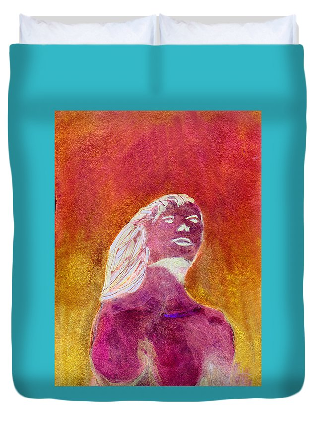 Mermaid Duvet Cover featuring the painting Amphitrite Siren Of Sunset Reef by Donna Walsh