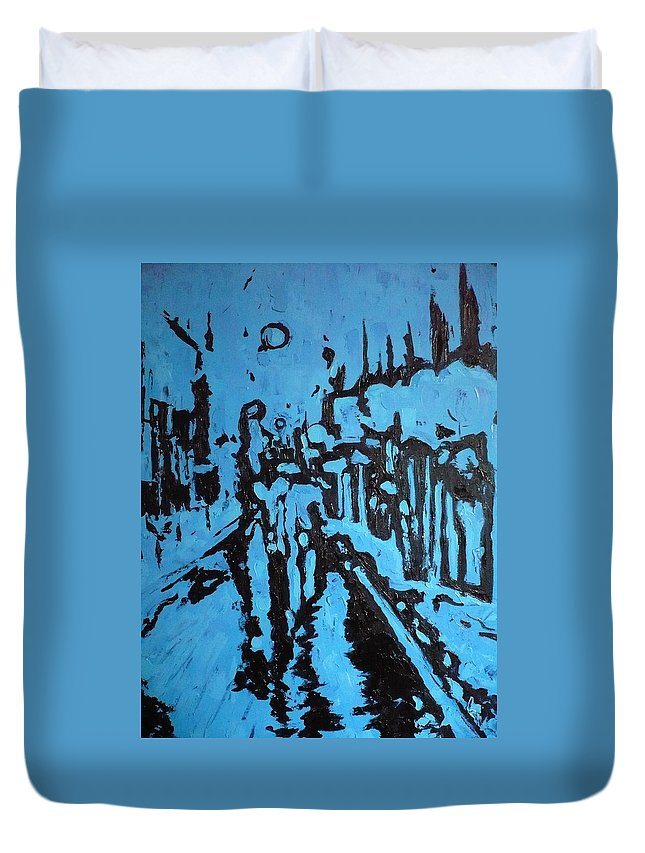 Street Duvet Cover featuring the painting Amsterdam At Night by Ericka Herazo