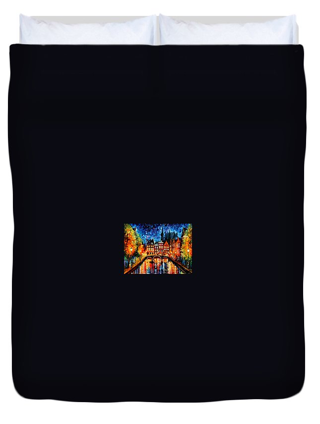 Afremov Duvet Cover featuring the painting Amsterdam Canal by Leonid Afremov