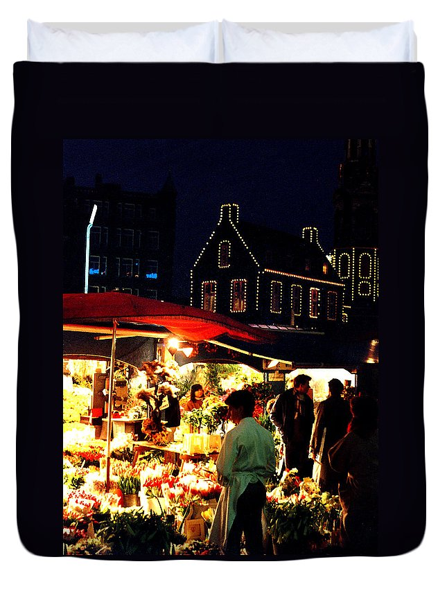 Flowers Duvet Cover featuring the photograph Amsterdam Flower Market by Nancy Mueller