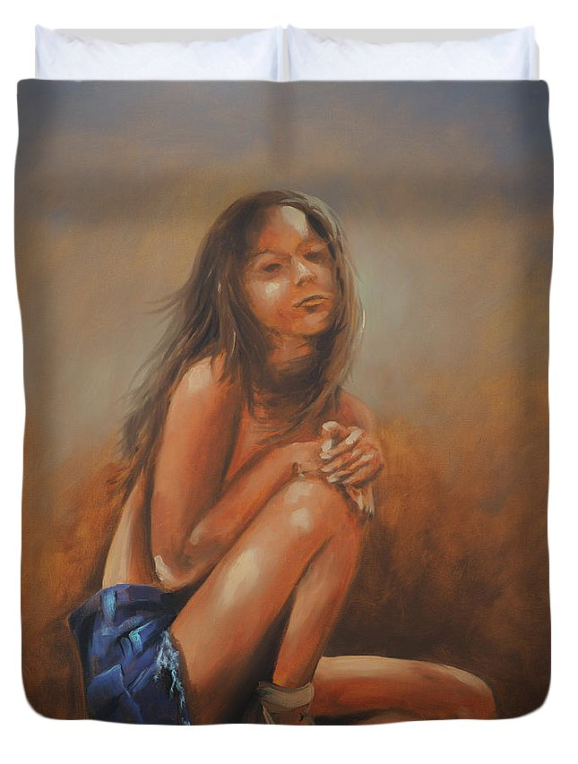Amsterdam Duvet Cover featuring the painting Amsterdam Girl by David Bader