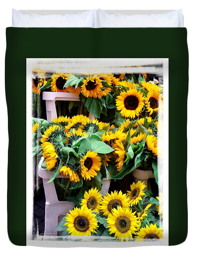 Amsterdam Duvet Cover featuring the photograph Amsterdam Sunflowers by Joan Minchak