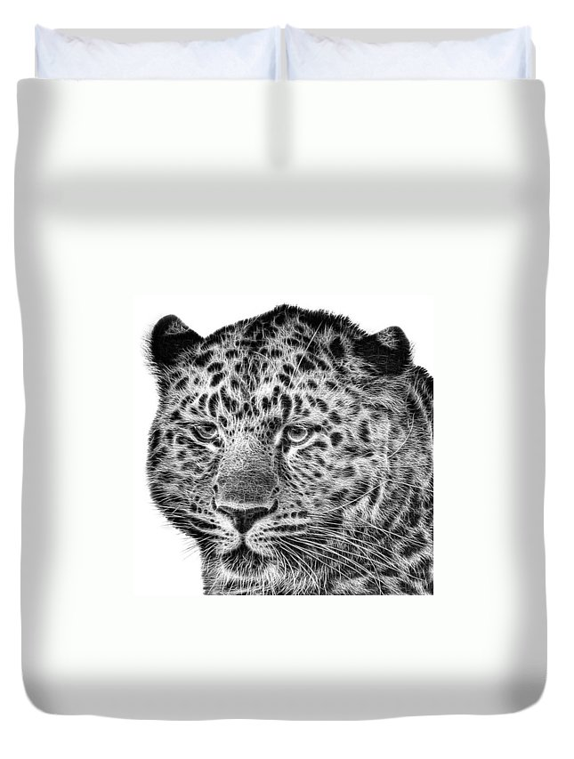 Snowleopard Duvet Cover featuring the photograph Amur Leopard by John Edwards