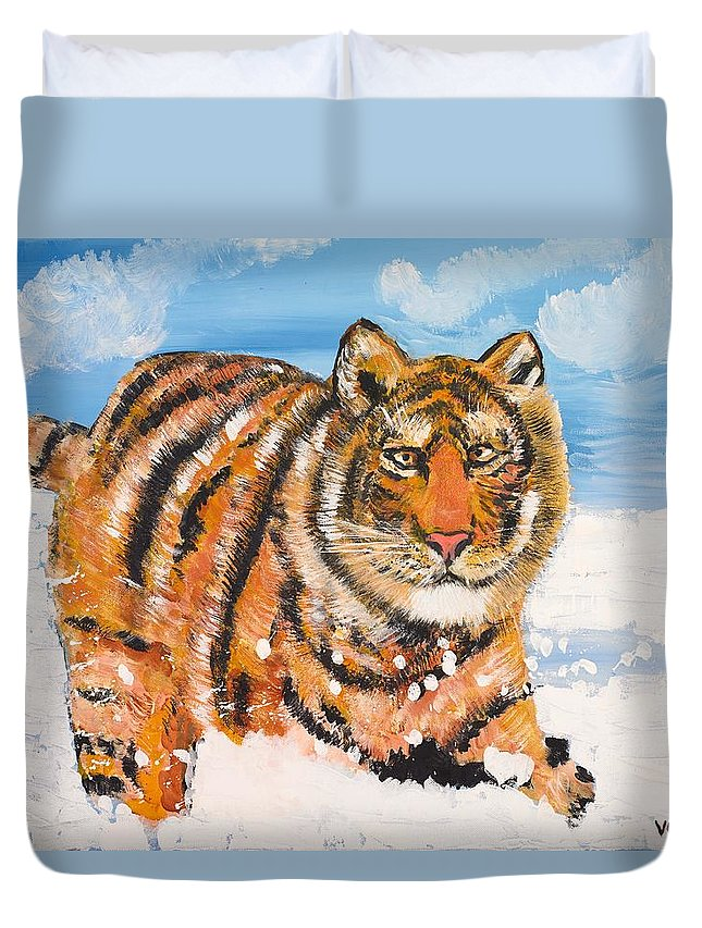 Cat Duvet Cover featuring the painting Amur Tiger by Valerie Ornstein