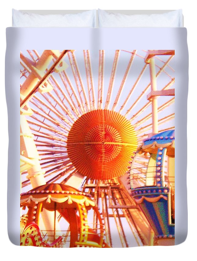 Amusement Duvet Cover featuring the painting Amusement Rides by Eric Schiabor