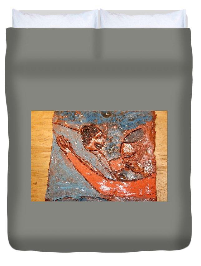 Jesus Duvet Cover featuring the ceramic art Amuweese - Ile by Gloria Ssali