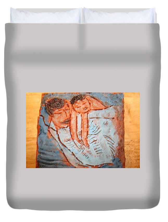 Jesus Duvet Cover featuring the ceramic art Amuweese - Tile by Gloria Ssali