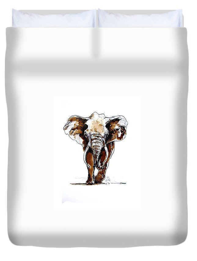 Wildlife Duvet Cover featuring the drawing Amy Grown by Paul Miller