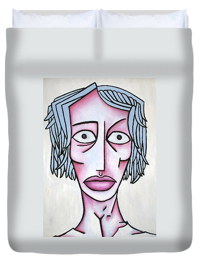 Potrait Duvet Cover featuring the painting amy by Thomas Valentine