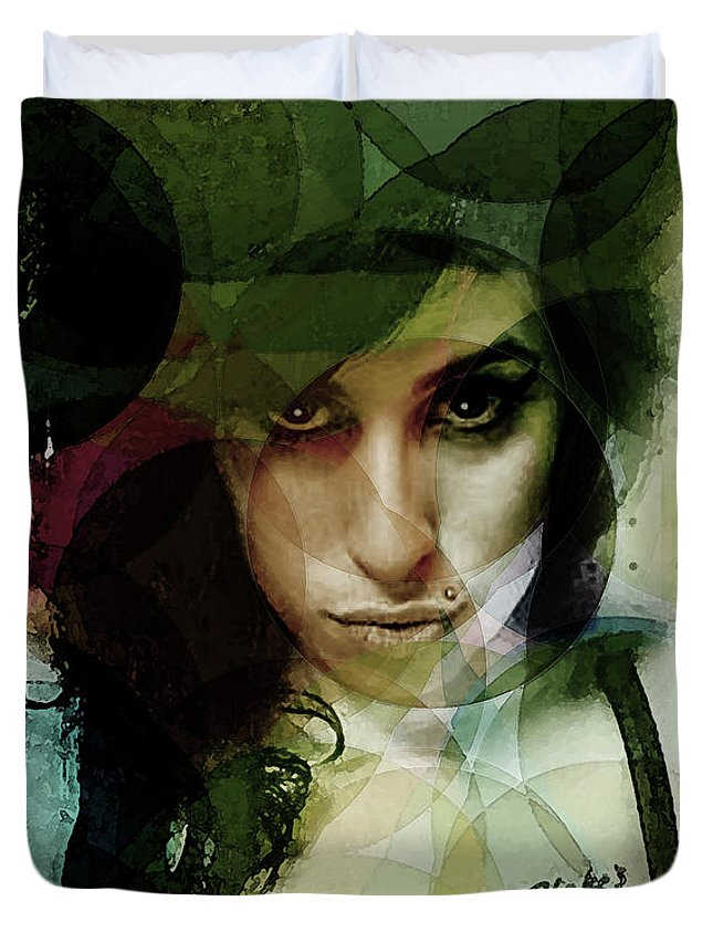 Amy Winehouse Duvet Cover featuring the mixed media Amy Whirls by Enki Art