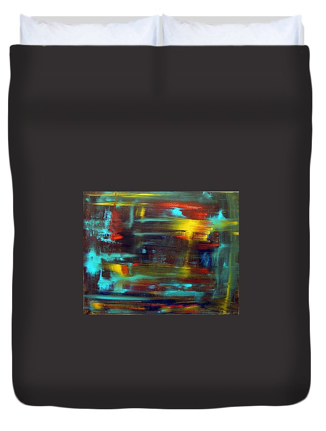 Red Blue Yellow Gold Brown Cad Orange Eyes Obama Oscar  Face Thought Emotions Duvet Cover featuring the painting An Abstract Thought by Jack Diamond