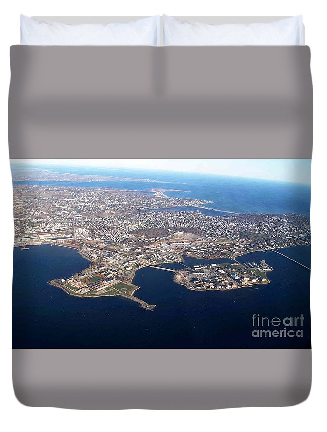 An Aerial View Of Naval Station Newport Duvet Cover featuring the painting An Aerial View Of Naval Station Newport by Celestial Images