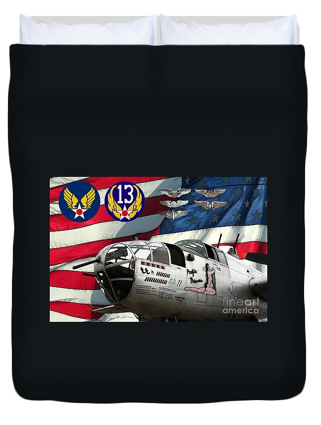 North American Duvet Cover featuring the digital art An American B-25c Pof by Tommy Anderson