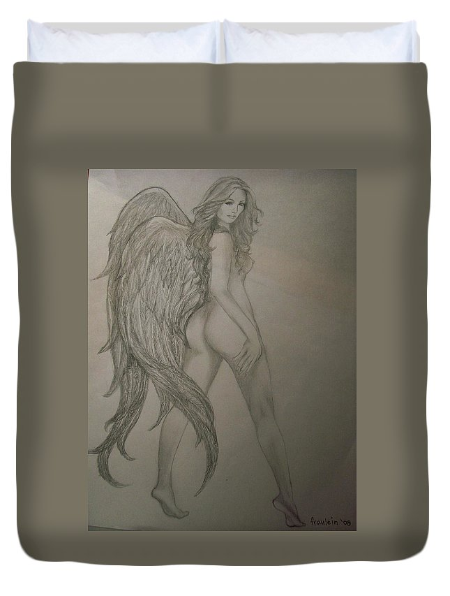 Angel Duvet Cover featuring the drawing An Angel by Glory Fraulein Wolfe