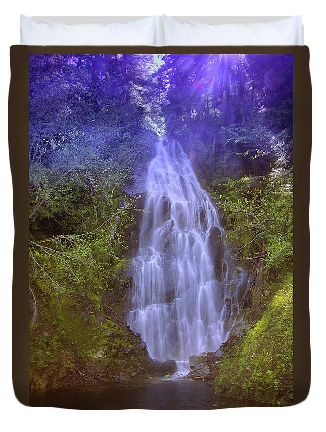 Waterfalls Duvet Cover featuring the photograph An Angel In The Falls by Jeff Swan