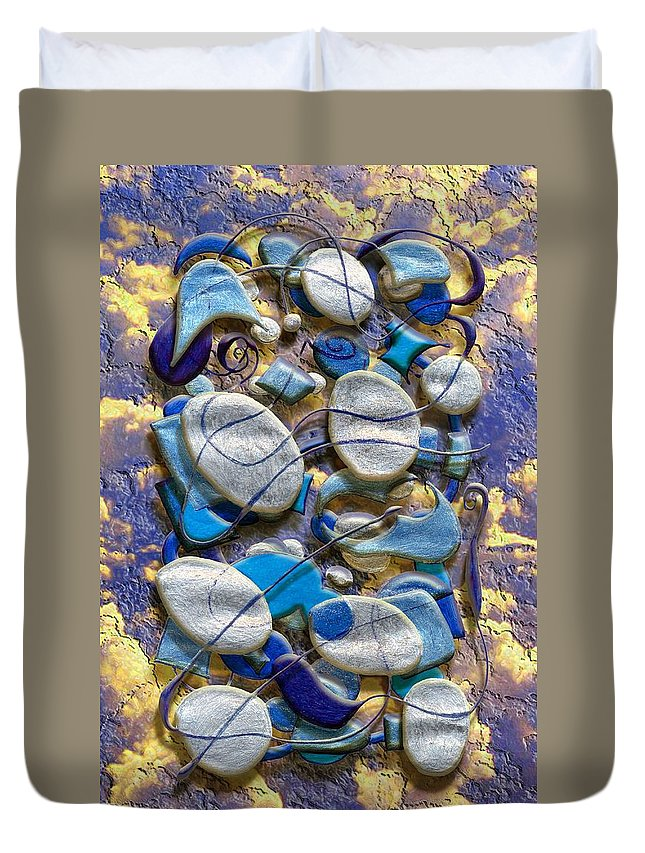 Abstract Duvet Cover featuring the digital art An Arrangement Of Stones by Mark Sellers