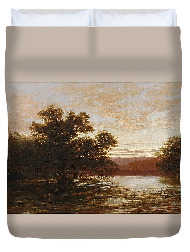 William Charles Piguenit Duvet Cover featuring the painting An Australian Mangrove. Ebb Tide by William Charles Piguenit