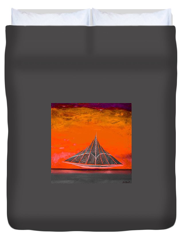 Sailing Ship Duvet Cover featuring the painting An Emerald Sail 2 by Barry Knauff