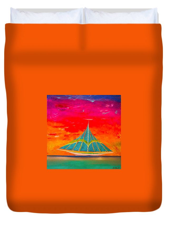 Sailing Ship Duvet Cover featuring the painting An Emerald Sail by Barry Knauff