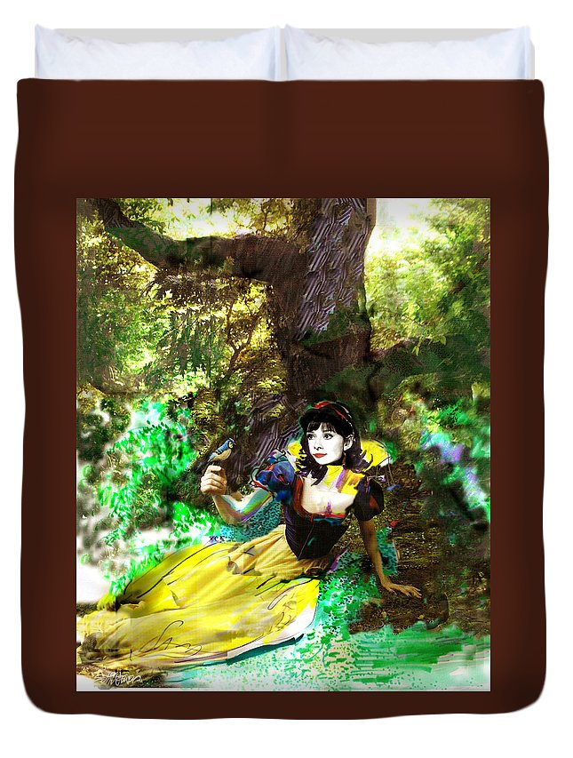 Snow White Duvet Cover featuring the mixed media An Enchanted Moment by Seth Weaver