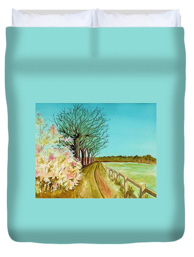 Landscape Duvet Cover featuring the painting An English Footpath by Brenda Owen