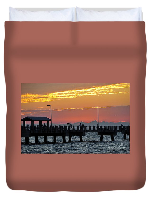 Fishing Duvet Cover featuring the photograph An Evenings Cast by David Lee Thompson