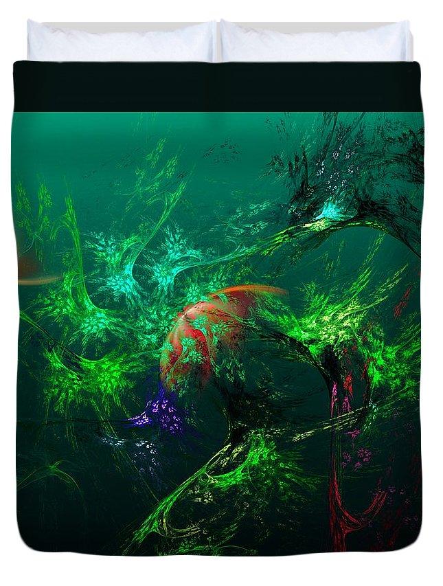 Fine Art Duvet Cover featuring the digital art An Octopus's Garden by David Lane