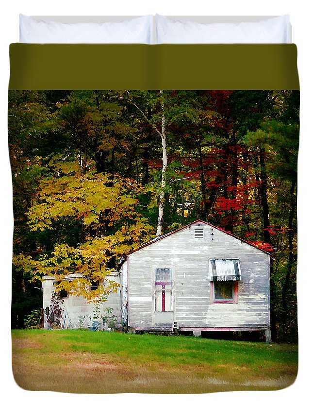 An Old Abandoned House Duvet Cover featuring the painting An Old Abandoned House by Jeelan Clark