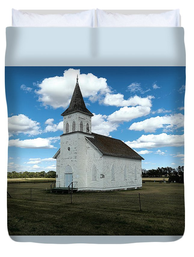 Church Duvet Cover featuring the photograph An Old Wooden Church by Jeff Swan