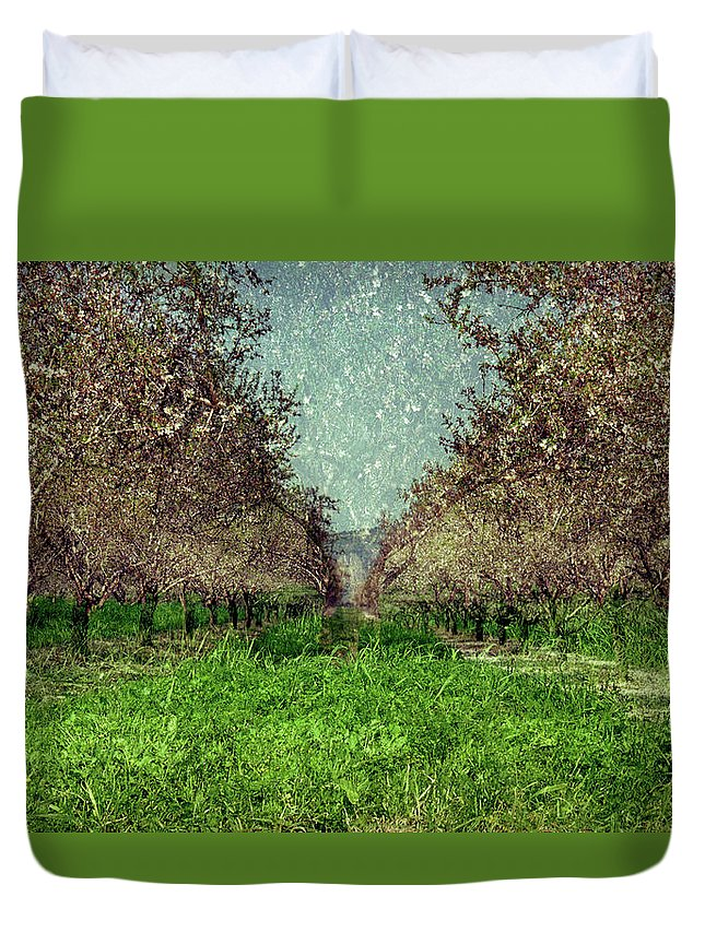 An Orchard In Blossom In The Eila Valley Duvet Cover featuring the photograph An Orchard In Blossom In The Eila Valley by Dubi Roman