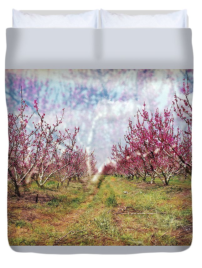 An Orchard In Blossom In The Golan Heights Duvet Cover featuring the photograph An Orchard In Blossom In The Golan Heights by Dubi Roman
