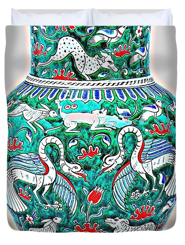 Pottery Duvet Cover featuring the painting An Ottoman Iznik Style Floral Design Pottery Polychrome, By Adam Asar, No 7a by Adam Asar