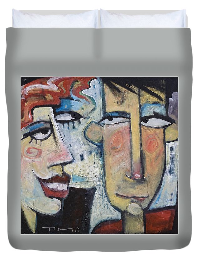 Man Duvet Cover featuring the painting An Uncomfortable Attraction by Tim Nyberg
