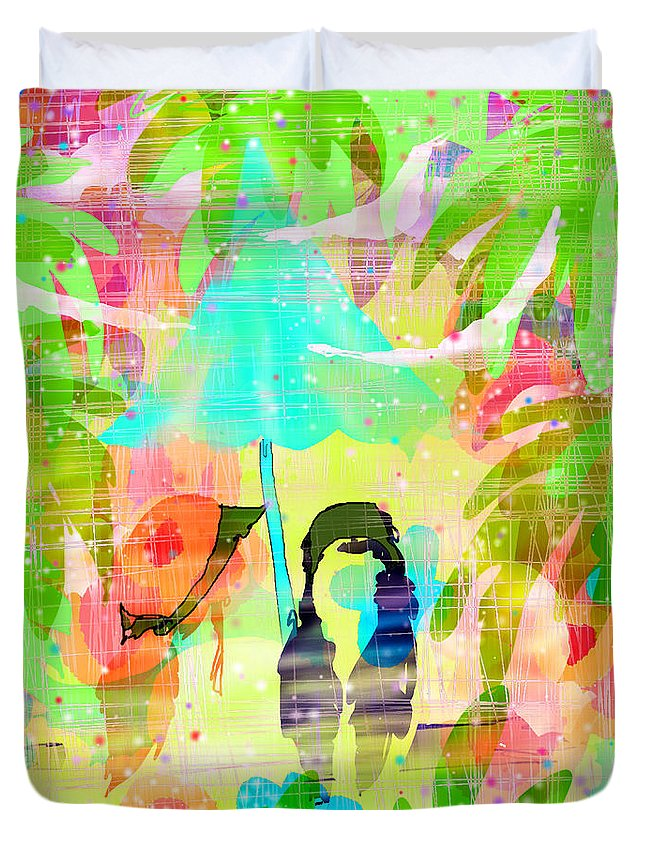 Girls Duvet Cover featuring the digital art An Unexpected Enchantment by Rachel Christine Nowicki