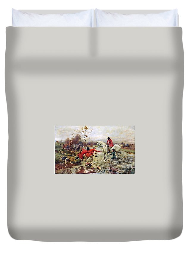 Alfred William Strutt - An Unfortunate Tumble Duvet Cover featuring the painting An Unfortunate Tumble by MotionAge Designs