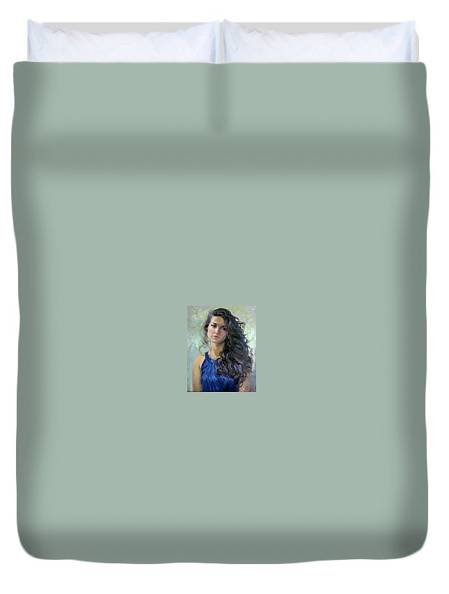 Portrait Duvet Cover featuring the painting Ana by Ylli Haruni