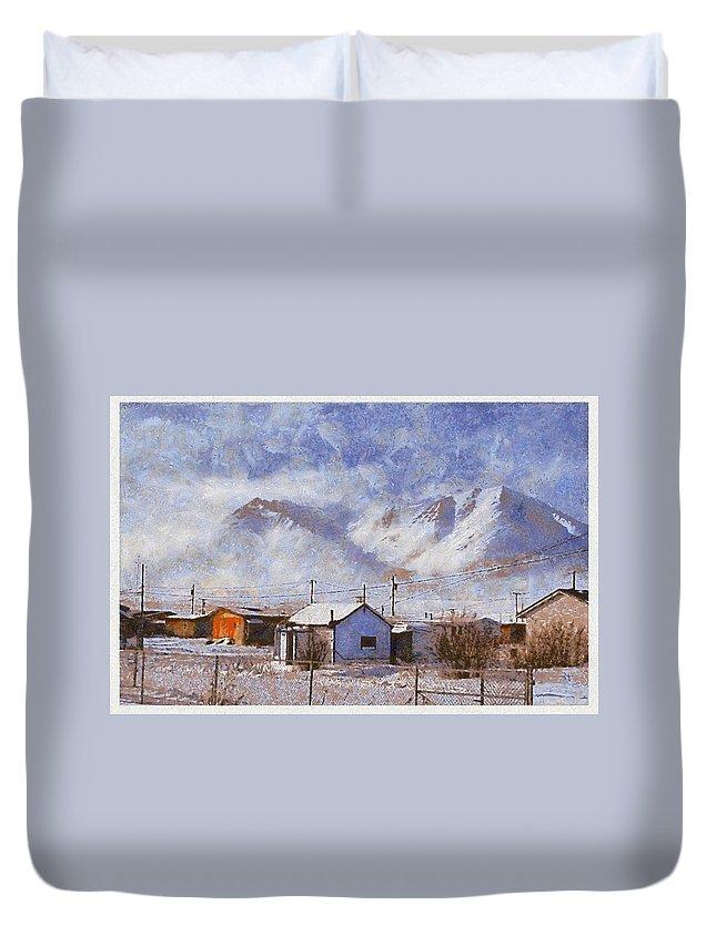 Anaktuvuk Eskimo Village Snow White House Mountain Duvet Cover featuring the photograph Anaktuvuk - Eskimo Village by Galeria Trompiz