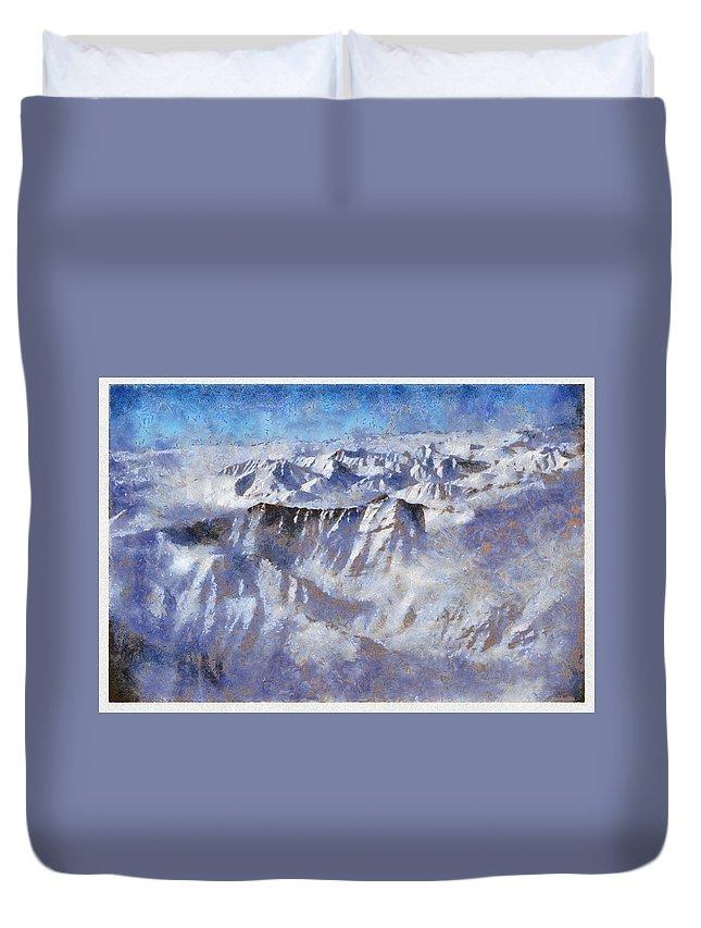 Anaktuvuk Pass Alaska Mountain Snow Flightseen Duvet Cover featuring the photograph Anaktuvuk Pass Alaska by Galeria Trompiz