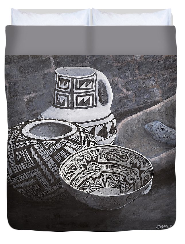Native American Duvet Cover featuring the painting Anasazi Black on White by Jerry McElroy