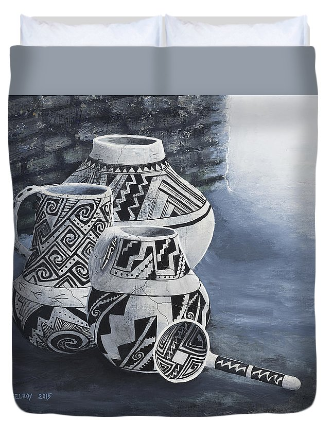 Native American Duvet Cover featuring the painting Anasazi Charm by Jerry McElroy