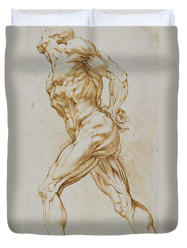 Rubens Duvet Cover featuring the drawing Anatomical Study by Rubens