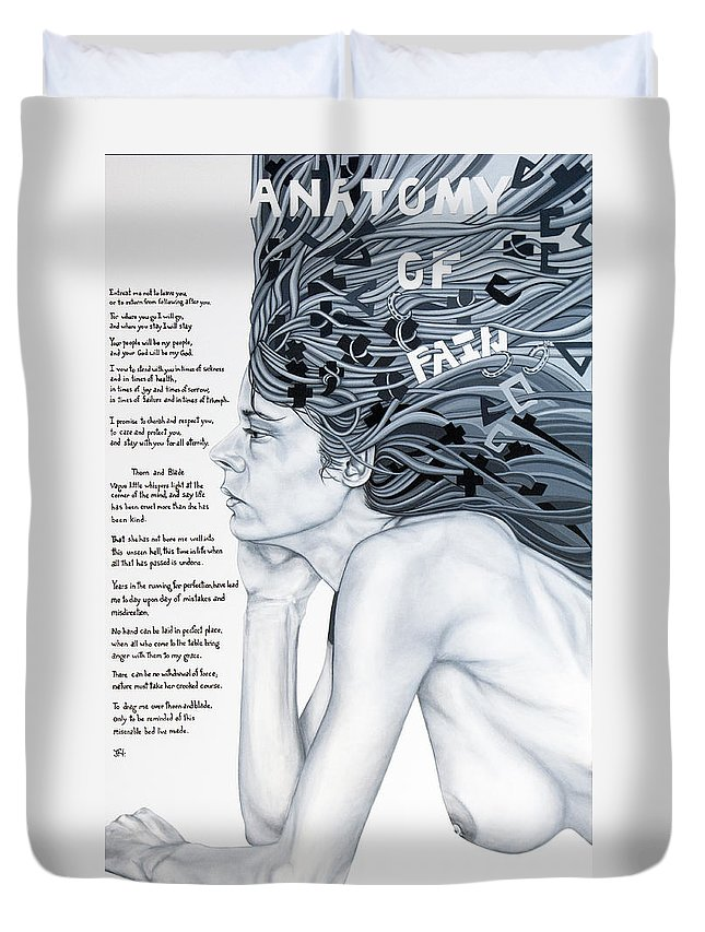 Poetry Duvet Cover featuring the painting Anatomy Of Pain by Judy Henninger