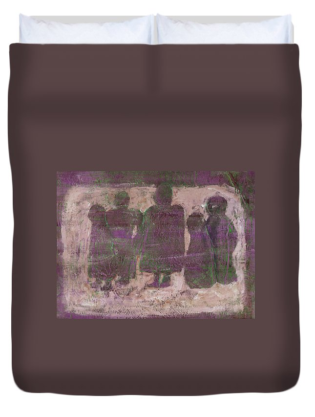 Ancestors Duvet Cover featuring the painting Ancestors by Wayne Potrafka